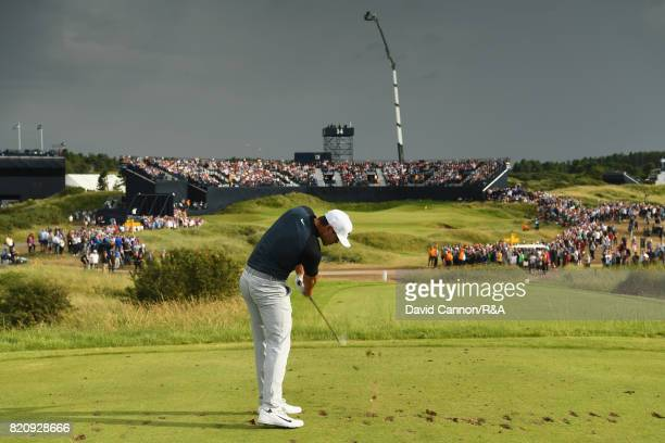 Brooks Koepka of the United States tees off on the 14th hole during the third round of the 146th Open Championship at Royal Birkdale on July 22 2017...