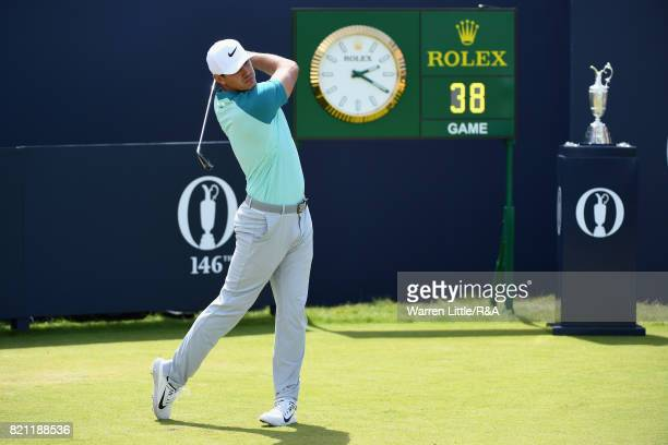 Brooks Koepka of the United States tees off on the first hole during the final round of the 146th Open Championship at Royal Birkdale on July 23 2017...