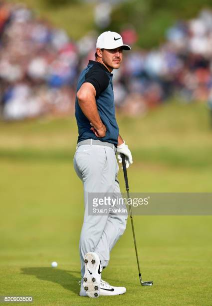 Brooks Koepka of the United States waits to play on the 13th hole during the third round of the 146th Open Championship at Royal Birkdale on July 22...