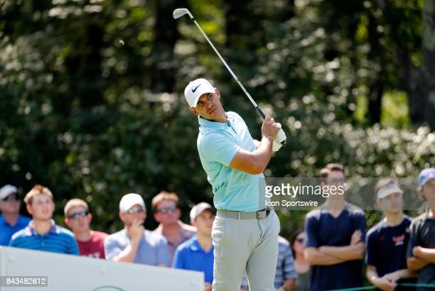 Brooks Koepka of the United States watches his tee shot on 8 during the final round of the Dell Technologies Championship on September 4 at TPC...