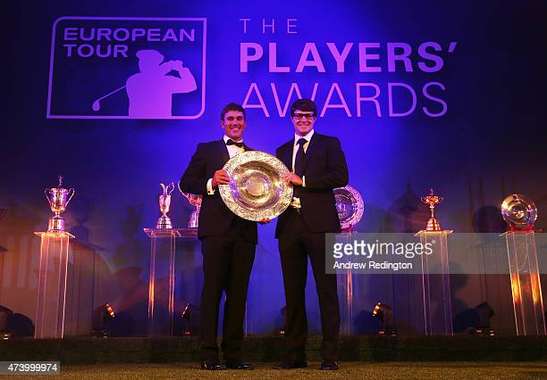 Brooks Koepka of the USA receives the Rookie of the Year award from Peter Uihlein of the USA during the European Tour Players' Awards ahead of the...
