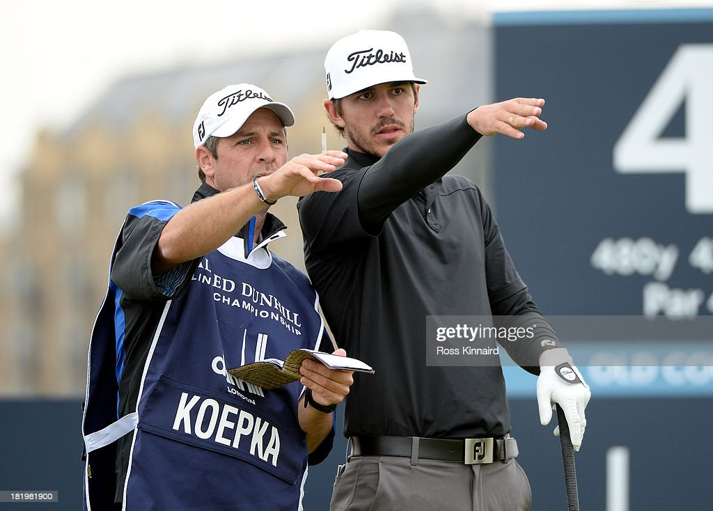 Brooks Koepka of the USA with his caddy on the fourth tee during the second round of the Alfred Dunhill Links Championship on The Old Course, at St Andrews on September 27, 2013 in St Andrews, Scotland.