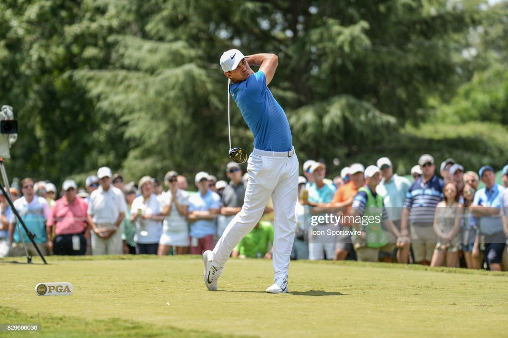 Brooks Koepka on the 9th tee during 1st round action at the PGA Championship at the Quail Hollow Club on August 10, 2017 in Charlotte, NC.