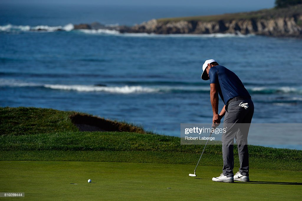 <a gi-track='captionPersonalityLinkClicked' href=/galleries/search?phrase=Brooks+Koepka&family=editorial&specificpeople=7047739 ng-click='$event.stopPropagation()'>Brooks Koepka</a> putts on the fifth green during the final round of the AT&T Pebble Beach National Pro-Am at the Pebble Beach Golf Links on February 14, 2016 in Pebble Beach, California.