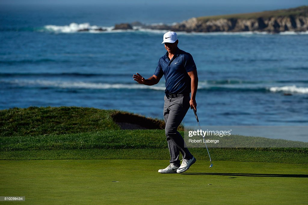 <a gi-track='captionPersonalityLinkClicked' href=/galleries/search?phrase=Brooks+Koepka&family=editorial&specificpeople=7047739 ng-click='$event.stopPropagation()'>Brooks Koepka</a> reacts after a putt on the fifth green during the final round of the AT&T Pebble Beach National Pro-Am at the Pebble Beach Golf Links on February 14, 2016 in Pebble Beach, California.
