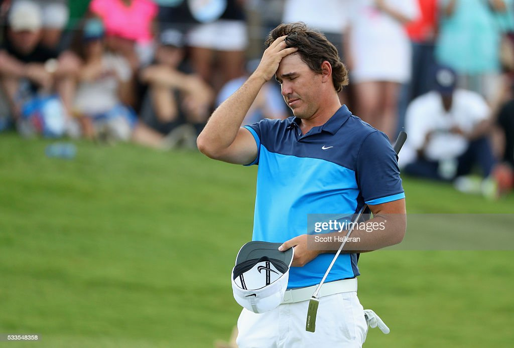 Brooks Koepka reacts to a shot during the first playoff hole during the Final Round at AT&T Byron Nelson on May 22, 2016 in Irving, Texas.