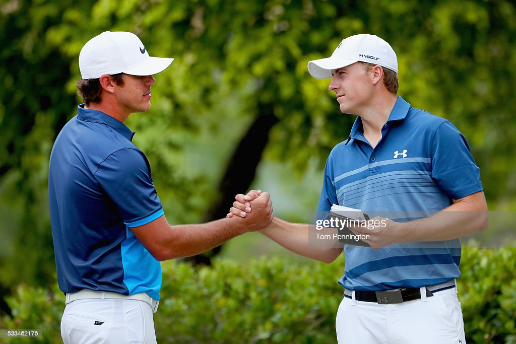 Brooks Koepka shakes hands with Jordan Spieth on the first hole during the Final Round at ATT Byron Nelson on May 22 2016 in Irving Texas