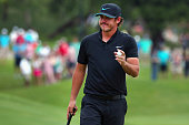 Brooks Koepka waves to the gallery on the tenth green during Round Three at the ATT Byron Nelson on May 21 2016 in Irving Texas
