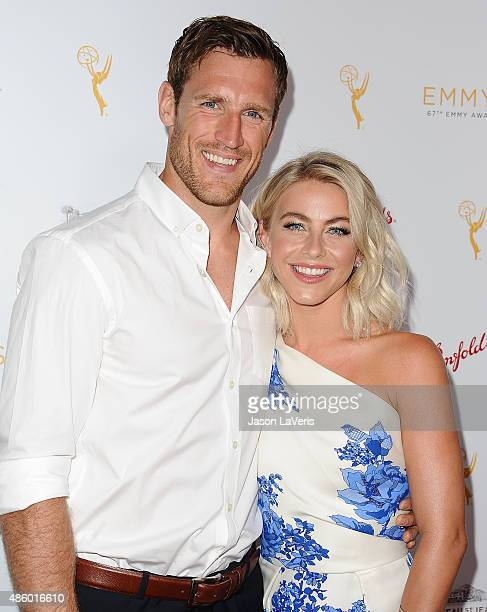 Brooks Laich and Julianne Hough attend the Television Academy's cocktail reception for the 67th Emmy Award nominees for Outstanding Choreography at...