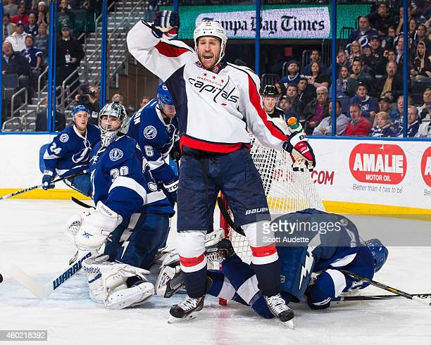 Brooks Laich of the Washington Capitals celebrates his goal against Ben Bishop of the Tampa Bay Lightning during the second period at the Amalie...