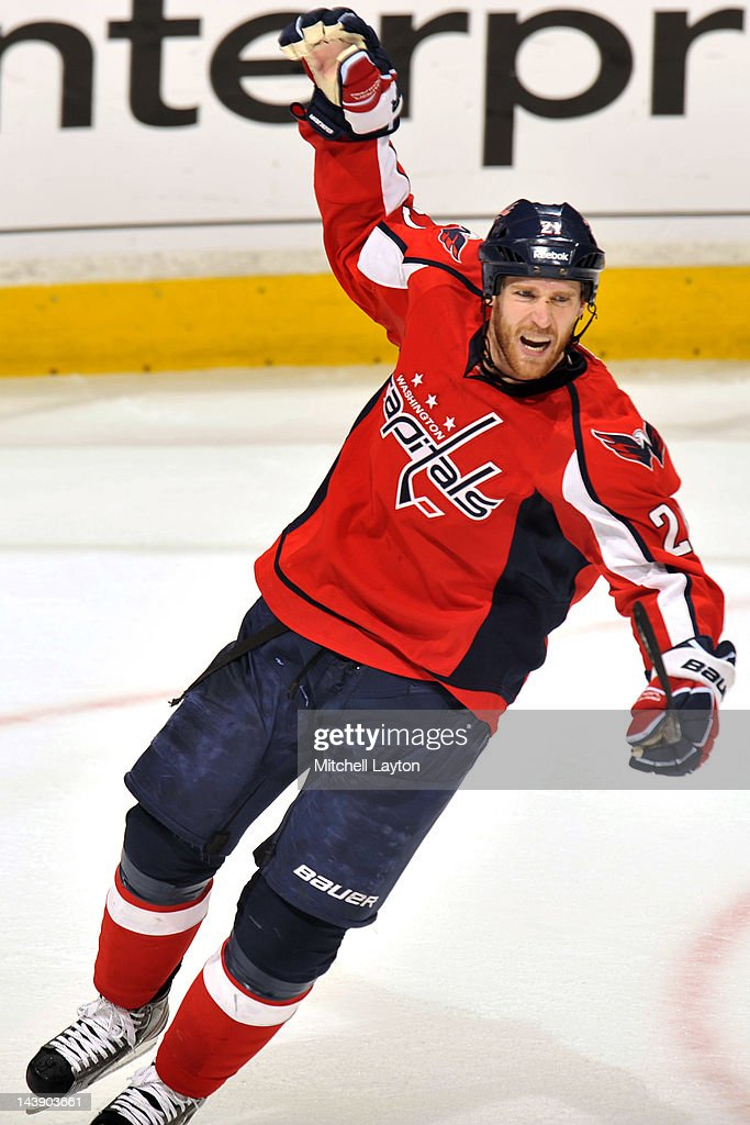 <a gi-track='captionPersonalityLinkClicked' href=/galleries/search?phrase=Brooks+Laich&family=editorial&specificpeople=554432 ng-click='$event.stopPropagation()'>Brooks Laich</a> #21 of the Washington Capitals celebrates his team's first goal during the first period of Game Four of the Eastern Conference Semifinals of the 2012 NHL Stanley Cup Playoffs against the New York Rangers on May 5, 2012 at the Verizon Center in Washington, DC.