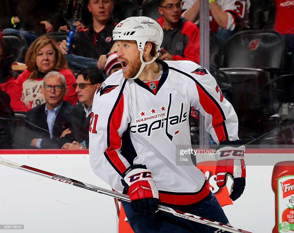 <a gi-track='captionPersonalityLinkClicked' href=/galleries/search?phrase=Brooks+Laich&family=editorial&specificpeople=554432 ng-click='$event.stopPropagation()'>Brooks Laich</a> #21 of the Washington Capitals celebrates in the third period against the New Jersey Devils on February 6, 2016 at Prudential Center in Newark, New Jersey.The Washington Capitals defeated the New Jersey Devils 3-2 in an overtime shootout.