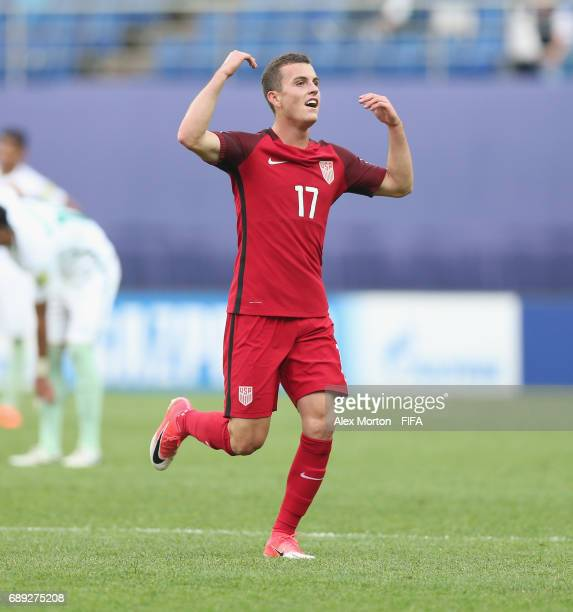 Brooks Lennon of USA celebrates after scoring their first goal during the FIFA U20 World Cup Korea Republic 2017 group F match between USA and Saudi...