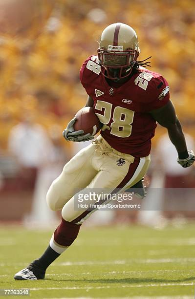 J Brooks of the Boston College Eagles rushes against the Bowling Green Falcons on October 6 2007 at Alumni Stadium in Chestnut Hill Massachusetts...