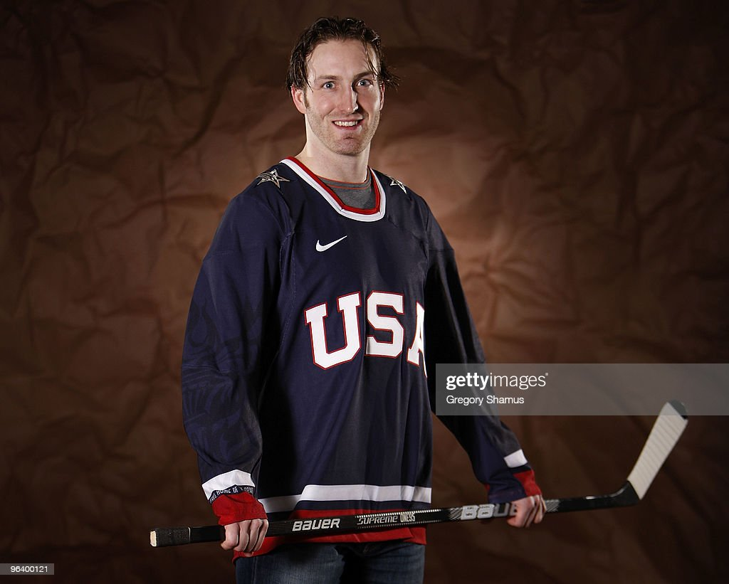 Brooks Orpik #44 of the Pittsburgh Penguins poses for a portrait in his Team USA 2010 Olympic jersey on February 3, 2010 at Mellon Arena in Pittsburgh, Pennsylvania.