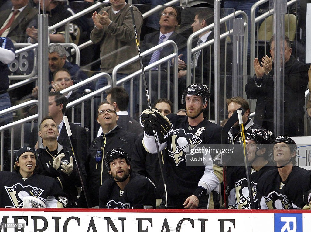 <a gi-track='captionPersonalityLinkClicked' href=/galleries/search?phrase=Brooks+Orpik&family=editorial&specificpeople=213074 ng-click='$event.stopPropagation()'>Brooks Orpik</a> #44 of the Pittsburgh Penguins salutes the fans while appearing in his 622nd career game as a Penguin, surpassing Ron Stackhouse (not pictured) in fifth place on the franchises's all-time played list, against the Buffalo Sabres at Consol Energy Center on April 2, 2013 in Pittsburgh, Pennsylvania. The Sabres defeated the Penguins 4-1.