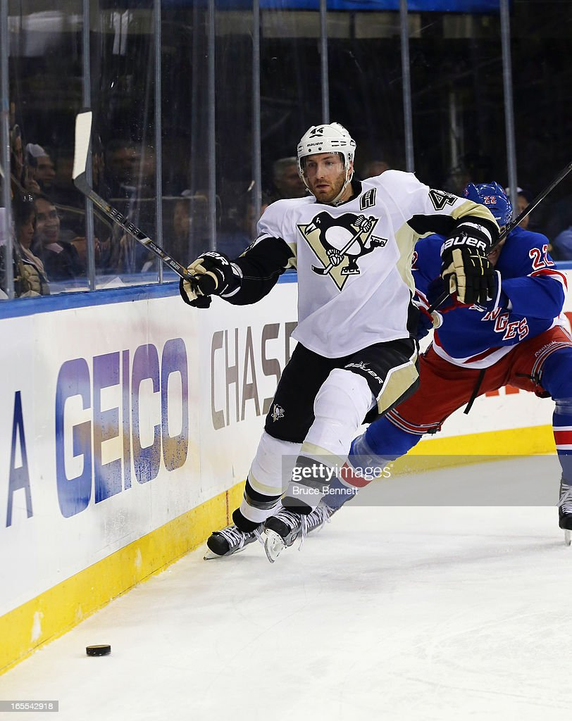 <a gi-track='captionPersonalityLinkClicked' href=/galleries/search?phrase=Brooks+Orpik&family=editorial&specificpeople=213074 ng-click='$event.stopPropagation()'>Brooks Orpik</a> #44 of the Pittsburgh Penguins skates against the New York Rangers at Madison Square Garden on April 3, 2013 in New York City.