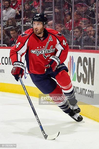 Brooks Orpik of the Washington Capitals controls the puck in the second period against the Arizona Coyotes during their game at Verizon Center on...