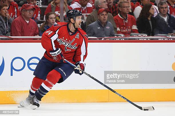 Brooks Orpik of the Washington Capitals in action against the New Jersey Devils at Verizon Center on October 10 2015 in Washington DC The Washington...
