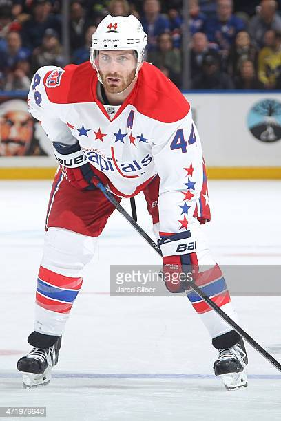 Brooks Orpik of the Washington Capitals looks on during a faceoff against the New York Rangers in Game Two of the Eastern Conference Semifinals...