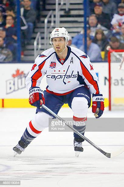 Brooks Orpik of the Washington Capitals skates back on defense during the game against the Columbus Blue Jackets on March 3 2015 at Nationwide Arena...