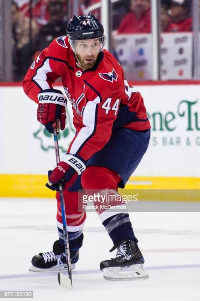 Brooks Orpik of the Washington Capitals skates in the first period against the Minnesota Wild at Capital One Arena on November 18 2017 in Washington...