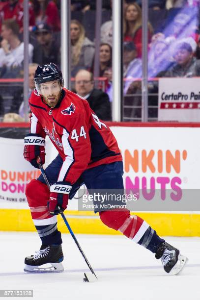 Brooks Orpik of the Washington Capitals skates with the puck in the first period against the Minnesota Wild at Capital One Arena on November 18 2017...