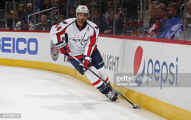 Brooks Orpik'n of the Washington Captitals skates against the Colorado Avalanche at the Pepsi Center on April 01 2016 in Denver Colorado The Capitals...
