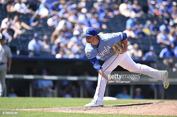 Brooks Pounders of the Kansas City Royals pitches against the Seattle Mariners on July 10 2016 at Kauffman Stadium in Kansas City Missouri The...