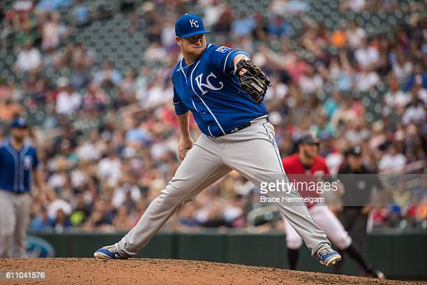 Brooks Pounders of the Kansas City Royals pitches against the Minnesota Twins on September 5 2016 at Target Field in Minneapolis Minnesota The Royals...