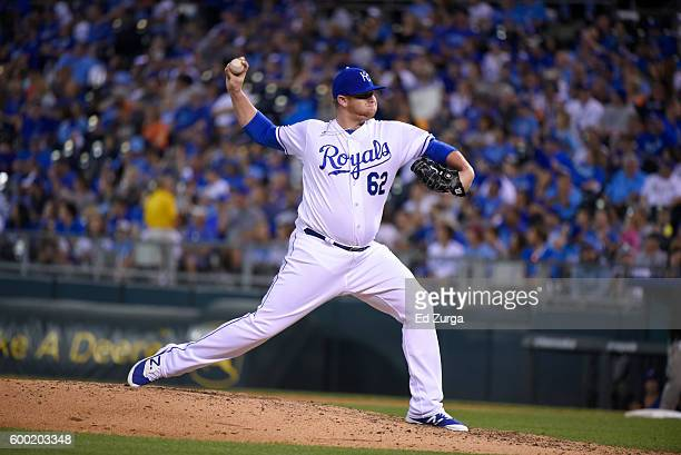 Brooks Pounders of the Kansas City Royals throws against the Detroit Tigers at Kauffman Stadium on September 3 2016 in Kansas City Missouri