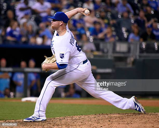 Brooks Pounders of the Kansas City Royals throws in the eighth inning against the Oakland Athletics at Kauffman Stadium on September 15 2016 in...