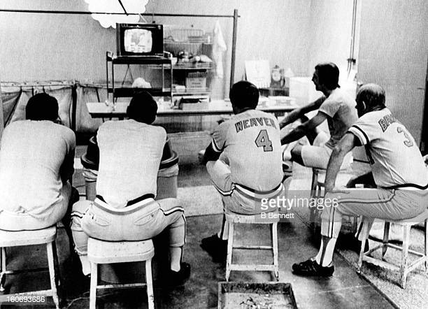 Brooks Robinson coach Jim Fry manager Earl Weaver coach George Bamberger and Mark Balanger of the Baltimore Orioles watch the Los Angeles Dodgers and...
