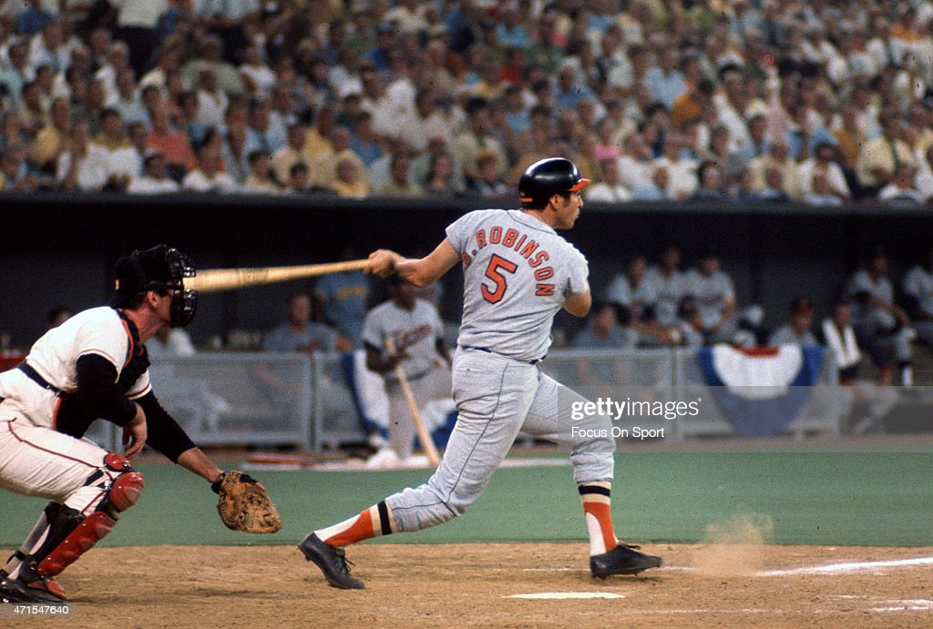 <a gi-track='captionPersonalityLinkClicked' href=/galleries/search?phrase=Brooks+Robinson&family=editorial&specificpeople=213977 ng-click='$event.stopPropagation()'>Brooks Robinson</a> #5 of the Baltimore Orioles and the American League AllStars bats against the National League All Stars during Major League Baseball AllStar game July 14, 1970 at Riverfront Stadium in Cincinnati, Ohio. The National League won the game 5-4.