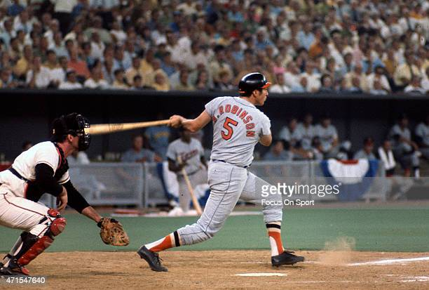 Brooks Robinson of the Baltimore Orioles and the American League AllStars bats against the National League All Stars during Major League Baseball...