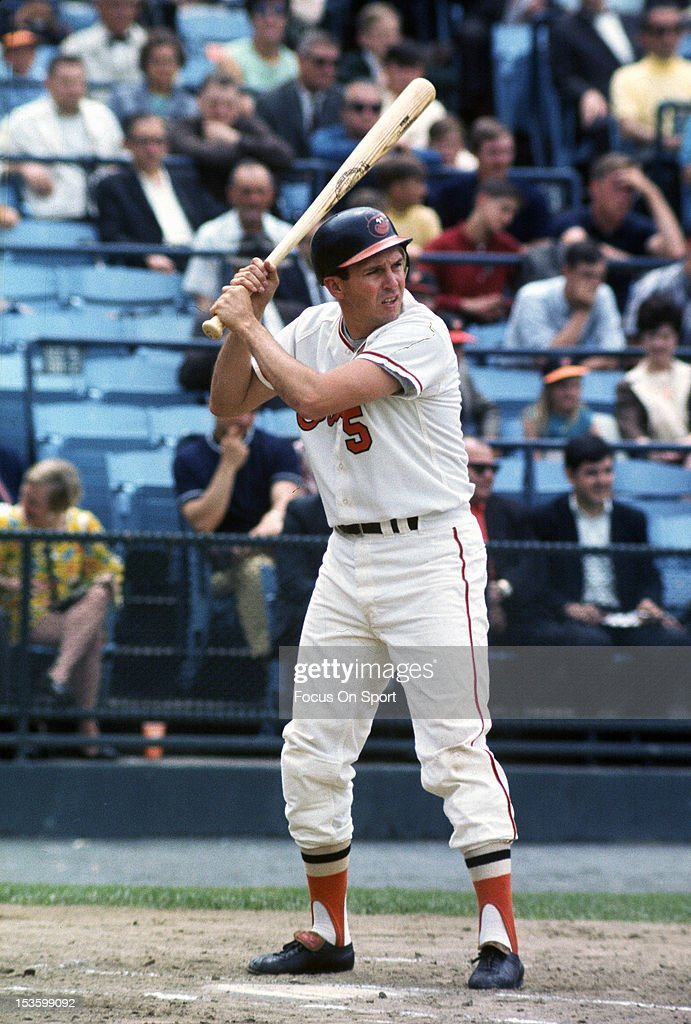 <a gi-track='captionPersonalityLinkClicked' href=/galleries/search?phrase=Brooks+Robinson&family=editorial&specificpeople=213977 ng-click='$event.stopPropagation()'>Brooks Robinson</a> #5 of the Baltimore Orioles bats during an Major League Baseball game circa 1966 at Memorial Stadium in Baltimore, Maryland. Robinson played for the Orioles from 1955-77.