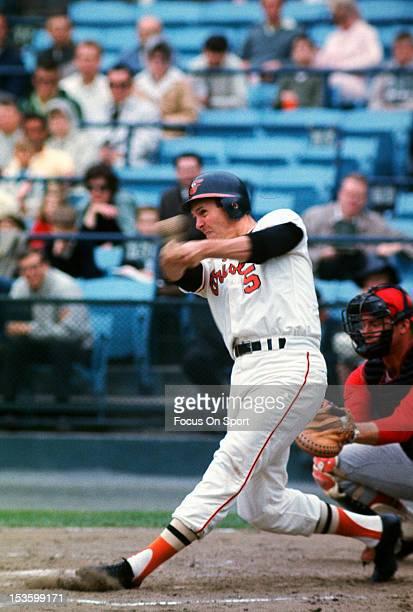 Brooks Robinson of the Baltimore Orioles bats during an Major League Baseball game circa 1968 at Memorial Stadium in Baltimore Maryland Robinson...