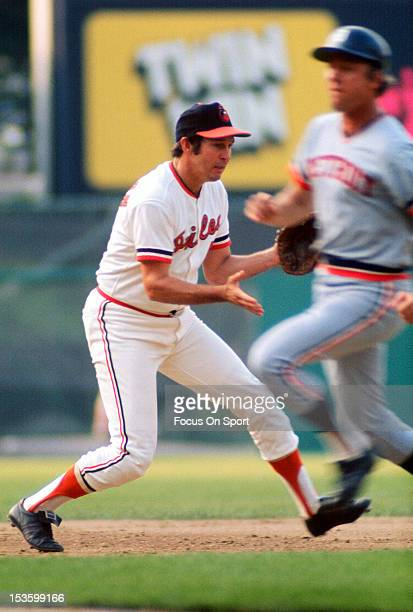 Brooks Robinson of the Baltimore Orioles fields a ground ball against the Detroit Tigers during an Major League Baseball game circa 1970 at Memorial...