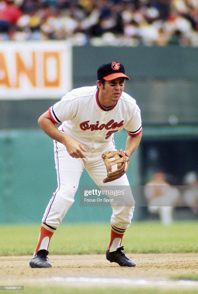 <a gi-track='captionPersonalityLinkClicked' href=/galleries/search?phrase=Brooks+Robinson&family=editorial&specificpeople=213977 ng-click='$event.stopPropagation()'>Brooks Robinson</a> #5 of the Baltimore Orioles is down and ready to make a play on the ball during an Major League Baseball game circa 1970 at Memorial Stadium in Baltimore, Maryland. Robinson played for the Orioles from 1955-77.