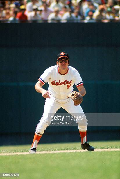 Brooks Robinson of the Baltimore Orioles is down and ready to make a play on the ball during an Major League Baseball game circa 1970 at Memorial...