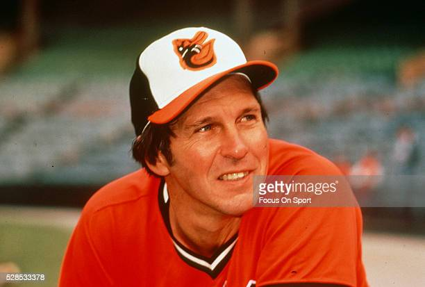 Brooks Robinson of the Baltimore Orioles looks on prior to the start of a Major League Baseball game circa 1975 at Memorial Stadium in Baltimore...