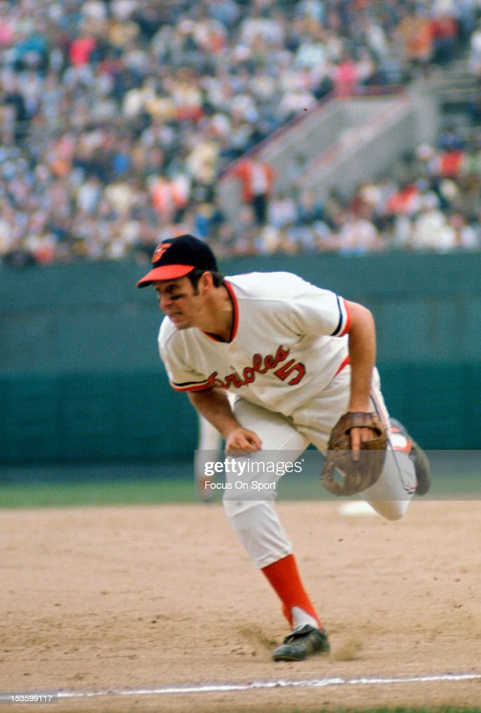 <a gi-track='captionPersonalityLinkClicked' href=/galleries/search?phrase=Brooks+Robinson&family=editorial&specificpeople=213977 ng-click='$event.stopPropagation()'>Brooks Robinson</a> #5 of the Baltimore Orioles reacts to a ball hit to his right down the third base line during an Major League Baseball game circa 1970 at Memorial Stadium in Baltimore, Maryland. Robinson played for the Orioles from 1955-77.