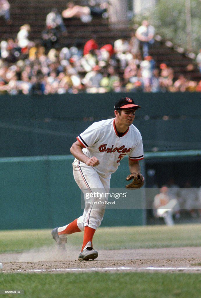 <a gi-track='captionPersonalityLinkClicked' href=/galleries/search?phrase=Brooks+Robinson&family=editorial&specificpeople=213977 ng-click='$event.stopPropagation()'>Brooks Robinson</a> #5 of the Baltimore Orioles reacts to field a ground ball hit his way during an Major League Baseball game circa 1970 at Memorial Stadium in Baltimore, Maryland. Robinson played for the Orioles from 1955-77.