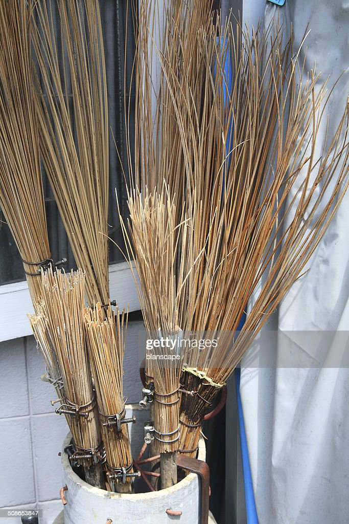 Brooms made from coconut leaf : Stock Photo