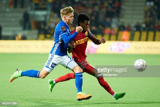 Bror Blume of Lyngby BK and Godsway Donyoh of FC Nordsjalland compete for the ball during the Danish Alka Superliga match between FC Nordsjalland and...