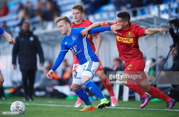 Bror Blume of Lyngby BK and Patrick da Silva of FC Nordsjalland compete for the ball during the Danish Alka Superliga match between Lyngby BK and FC...