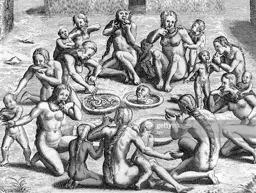 cannibalism A Broth is Made From the Intestines : cannibalism by Indians in New World  (Amazonia), engraving by Theodore de Bry for book 'Le Voyage au Brezil de  Jean de ...