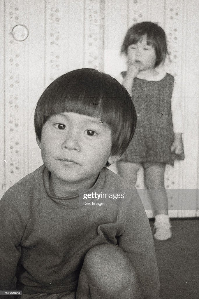 Brother and sister at home : Stock Photo