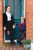 Brother and sister before school