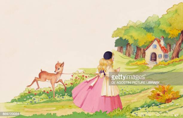 Brother and Sister find a home to live in the woods illustration for Brother and Sister fairy tale by the Grimm brothers Jacob and Wilhelm drawing
